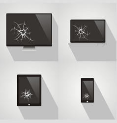 set of broken screen of smart phone computer vector image vector image