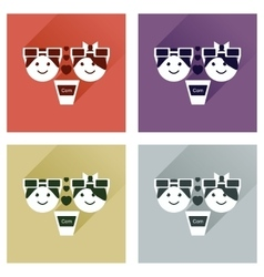 Set of flat web icons with long shadow couple vector