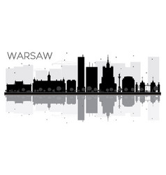 warsaw city skyline black and white silhouette vector image