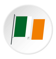 Waving flag of ireland icon circle vector