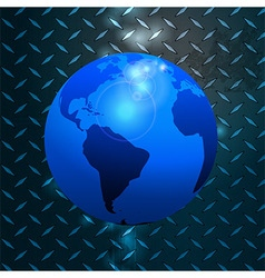 World globe over metallic diamond plate vector image vector image