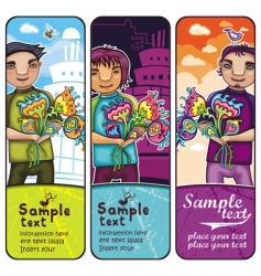young boy with flowers banners vector image vector image