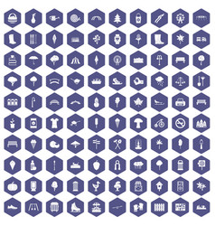 100 park icons hexagon purple vector