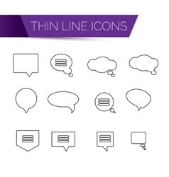 Thin line art icons - speech bubble set vector