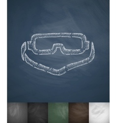 Climbing glasses icon hand drawn vector