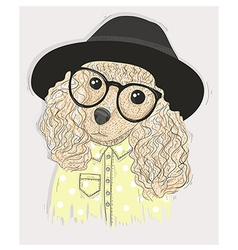 Cute hipster dog with glasses vector