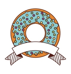 Donut with blue glazed and label vector