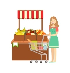Woman shopping for fruits shopping mall and vector