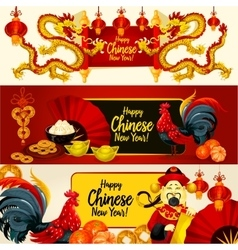 Chinese lunar new year greeting banner set vector