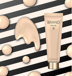 Poster for cosmetic product tube with foundation vector