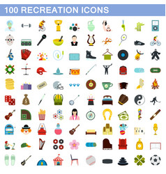 100 recreation icons set flat style vector