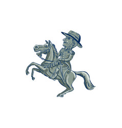 American cavalry officer riding horse prancing vector