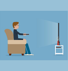 Man watches tv on sofa vector