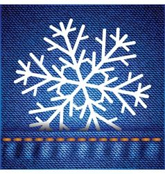 Snowflake on jeans texture vector