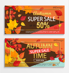 Set of modern banners for autumn super sale vector