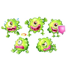 Different emotions of a green monster vector image