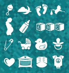 Newborn baby icons and symbols vector