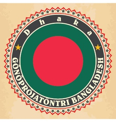 Vintage label cards of bangladesh flag vector