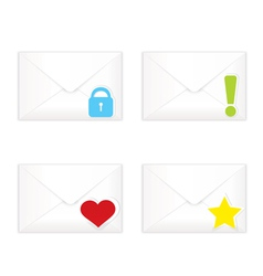 White closed envelopes with marks icon set vector