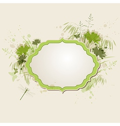 Decorative green floral background vector image