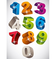 3d colorful bold numbers set vector