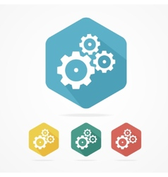 Gear icon set flat design style vector