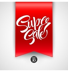 Super sale lettering with sale labels vector