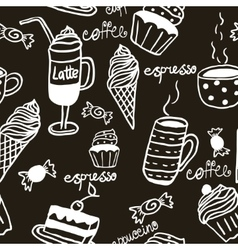 Sweet seamless pattern with drinks and sweets vector