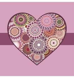 Vintage bright colorful heart pink ribbon vector
