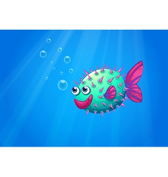 A puffer fish smiling vector