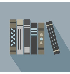 abstract row of books icons set with long shadow vector image