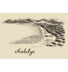 Antalya skyline vintage engraved hand drawn vector image vector image