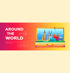 Around the world - line travel web page vector