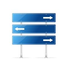 Blank traffic sign with white arrow vector image
