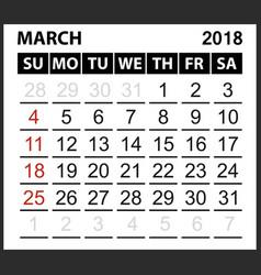 Calendar sheet march 2018 vector