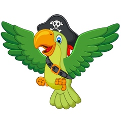 Cartoon pirate parrot vector