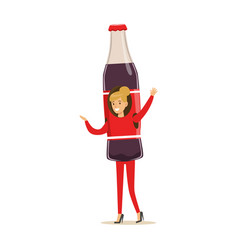 cheerful woman wearing soda drink bottle costume vector image vector image