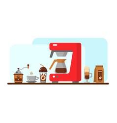 coffee equipment banner vector image vector image