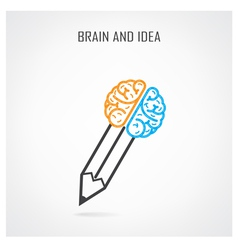 Creative right and left brain and pencil symbol vector