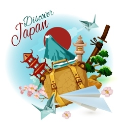 Discover japan poster vector