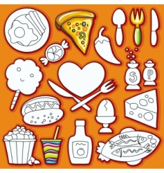 doodle set of food vector image