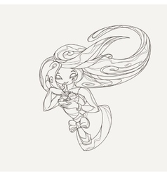 Elegant stylized girl doll with long flowing hair vector image vector image