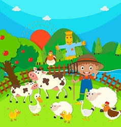 Farmer and farm animals vector image vector image