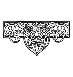 Floral tailpiece is a thick double line design vector