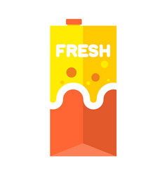 Fresh juice pack isolated cardboard box for drink vector