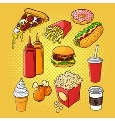 Hand drawn pop art set of fast food vector