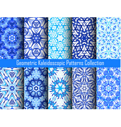 kaleidoscope patterns blue backgrounds vector image vector image