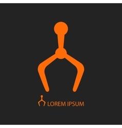Mechanical hand orange robot logo on black vector