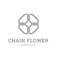Minimalistic chain flower line style logo vector