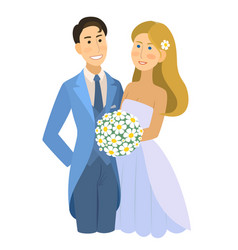 Newlyweds wedding bride and groom engaged vector